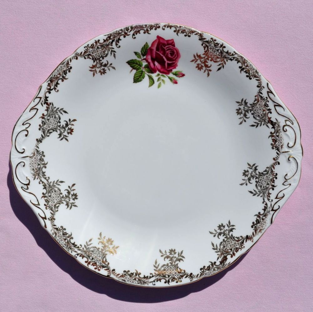 Paragon Pink Rose and Gold Filigree Vintage China Cake Plate c.1960s