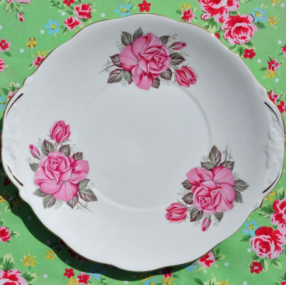 Queen Anne Pink Roses Vintage Cake Plate