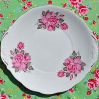 Queen Anne Pink Roses Cake Plate c.1960s