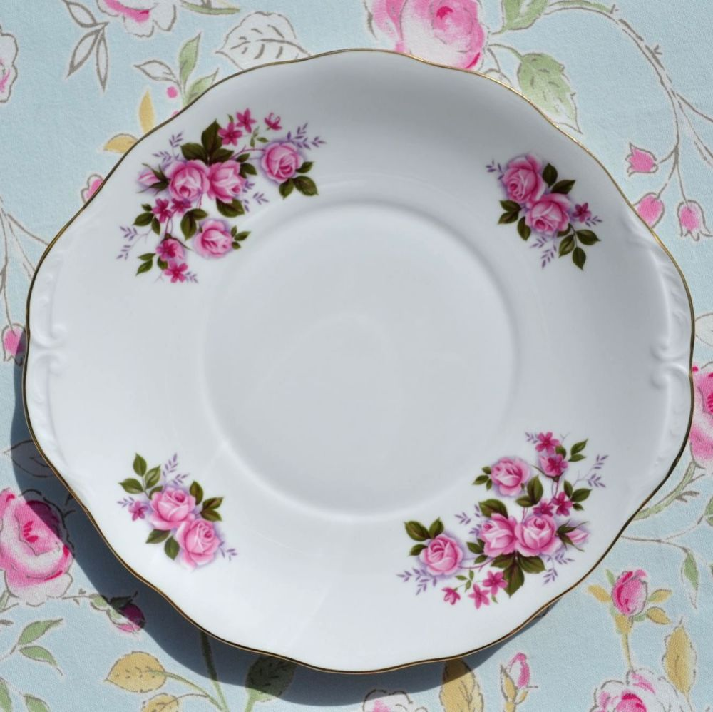 Queen Anne Samantha Pink Roses Pattern China Cake Plate