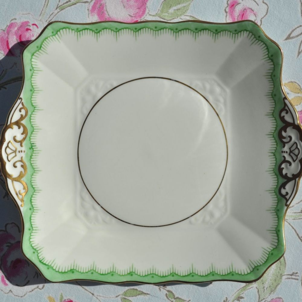 Tuscan Cream, Green & Gold Fine China Vintage Cake Plate