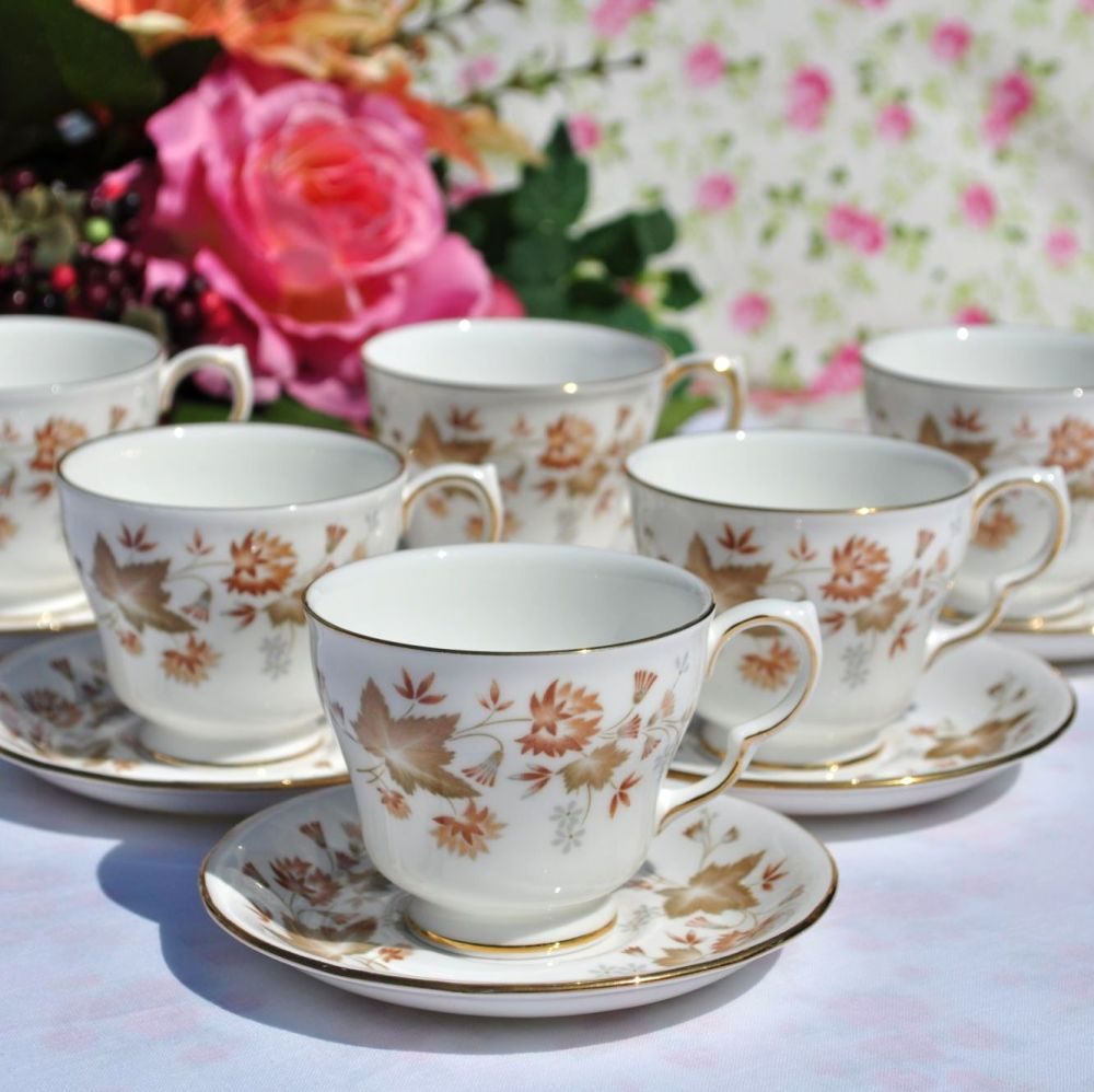 Colclough Avon Vintage China Demitasse Coffee Cups & Saucers Set