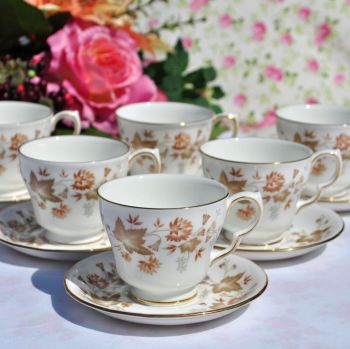 Colclough Avon Vintage China Demitasse Coffee Cups & Saucers Set