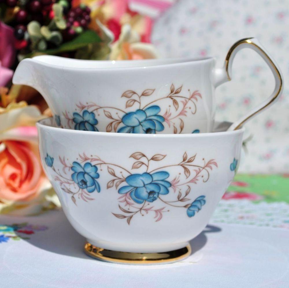 Windsor Duck Egg Blue Roses Milk Jug & Sugar Bowl c.1960's