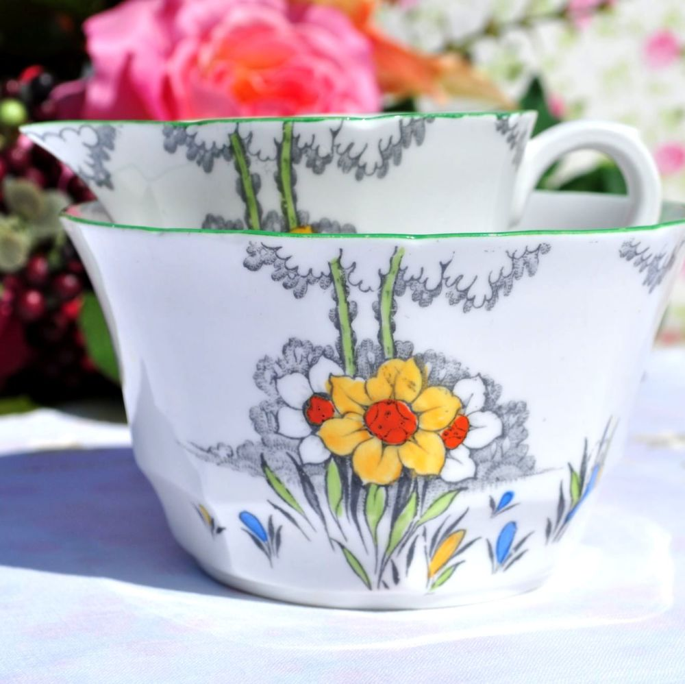 Melba Spring Flowers Vintage China Milk Jug and Sugar Bowl