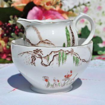 Roslyn China Cypress Tree Milk Jug & Sugar Bowl c.1924+