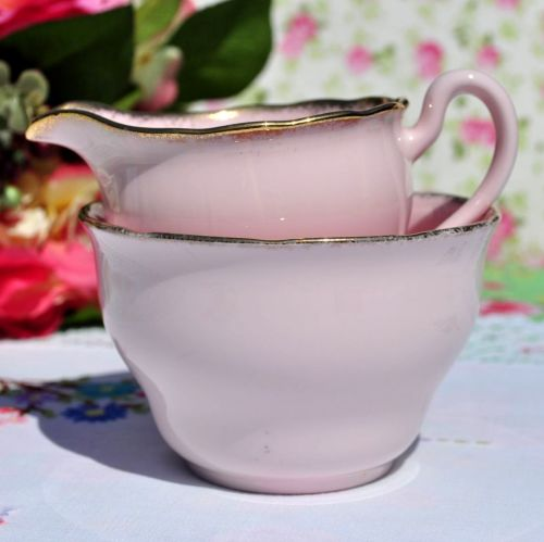 Royal Vale Pink Glazed Milk Jug & Sugar Bowl