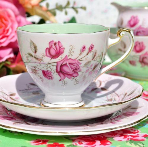 Roslyn Pink Rose Fine Bone China Vintage Tea Cup Trio