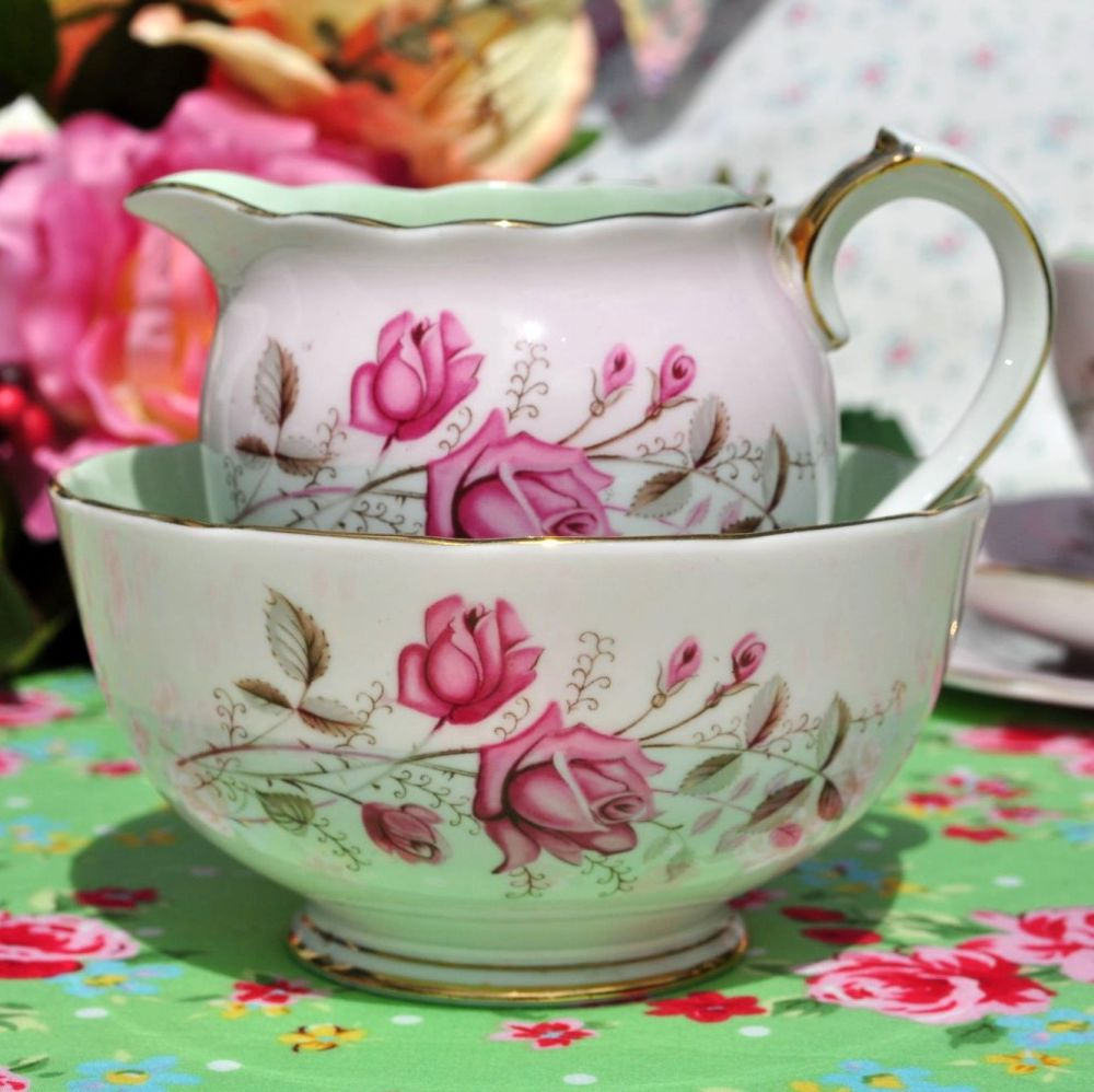 Roslyn Pink Rose Fine Bone China Vintage Cream Jug and Sugar Bowl