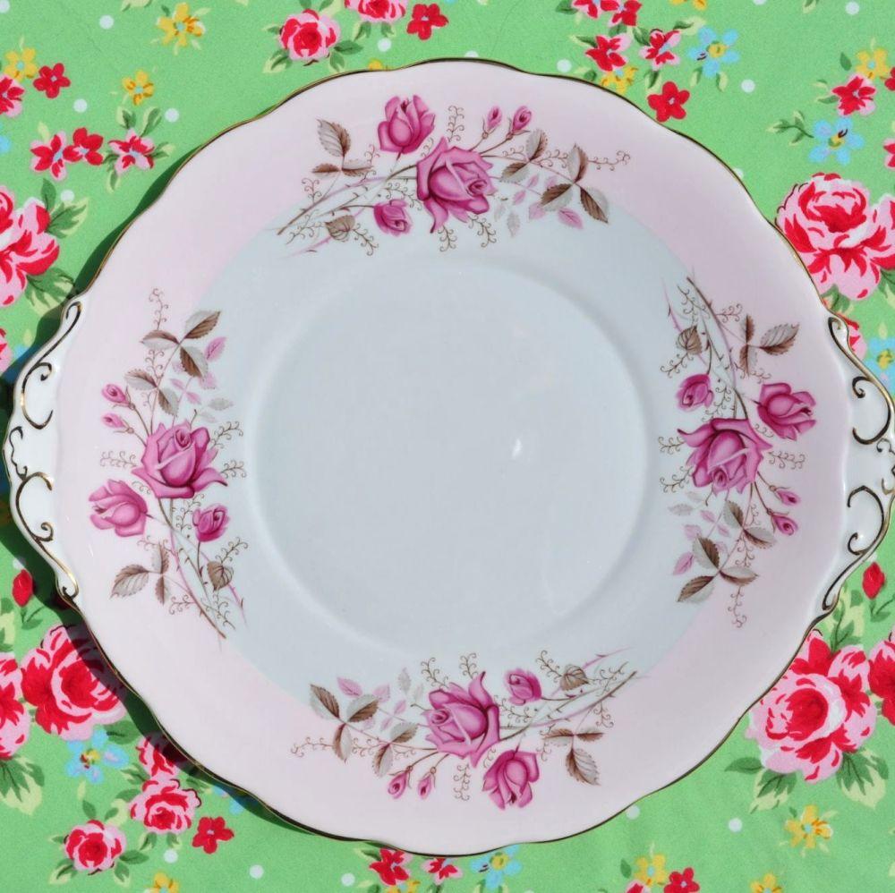 Roslyn Pink Rose Fine Bone China Vintage Cake Plate