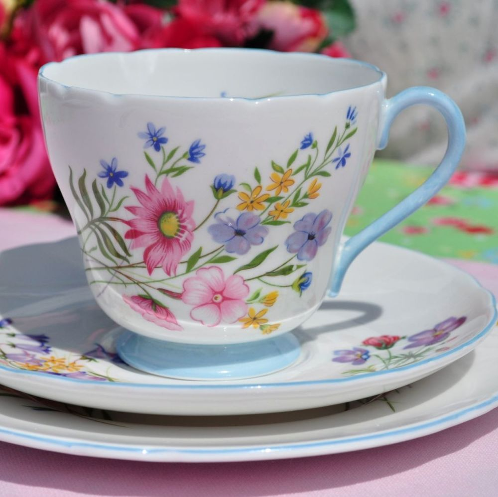 Shelley Wild Flowers Blue Footed 1950s China Teacup Trio
