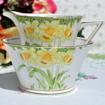 Art Deco Standard China Hand Painted Daffodils Milk Jug & Sugar Bowl c.1920s