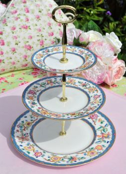 Wedgwood Harcourt Vintage China 3 Tier Cake Stand