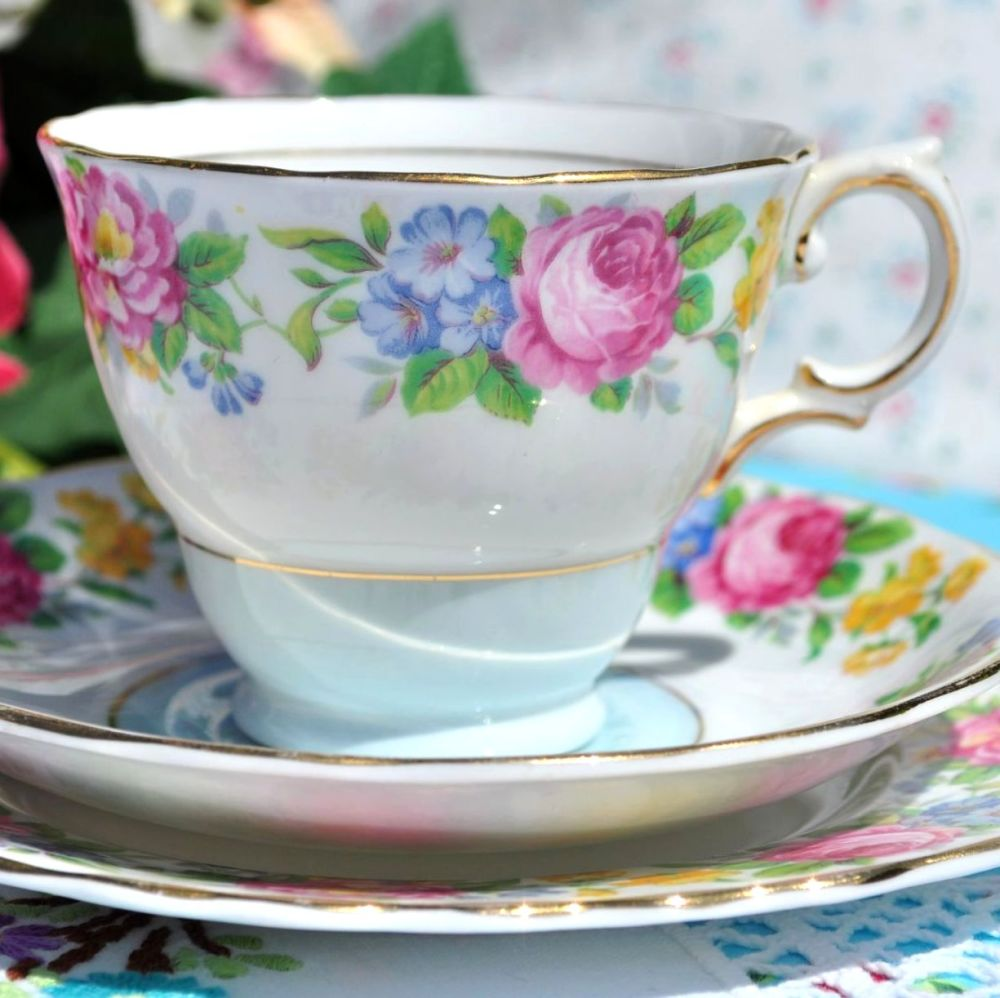Colclough Pale Blue and Colourful Floral Vintage Tea Cup Trio