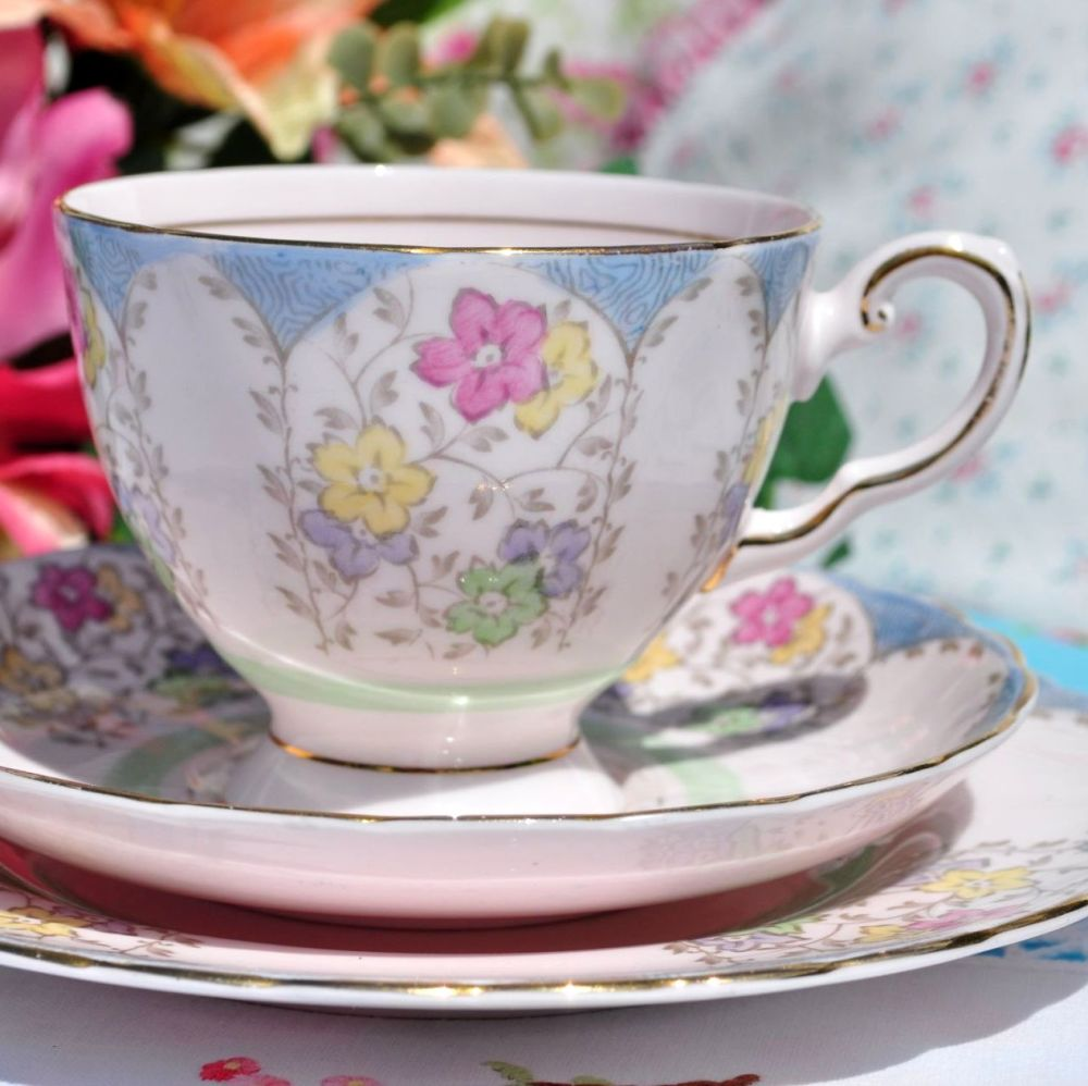 Tuscan Pink Fine China Vintage Tea Trio with Hand Painted Flowers