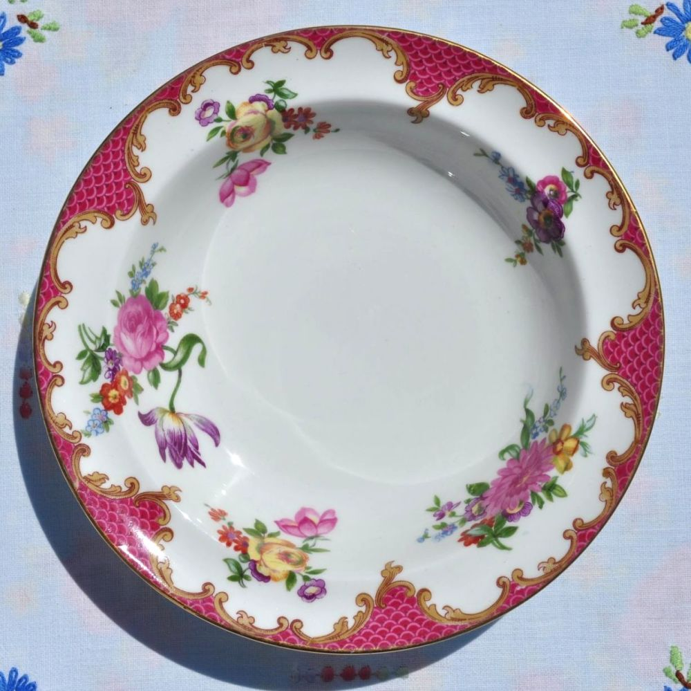 Aynsley Pink Floral Vintage Bone China Individual Dessert Bowl