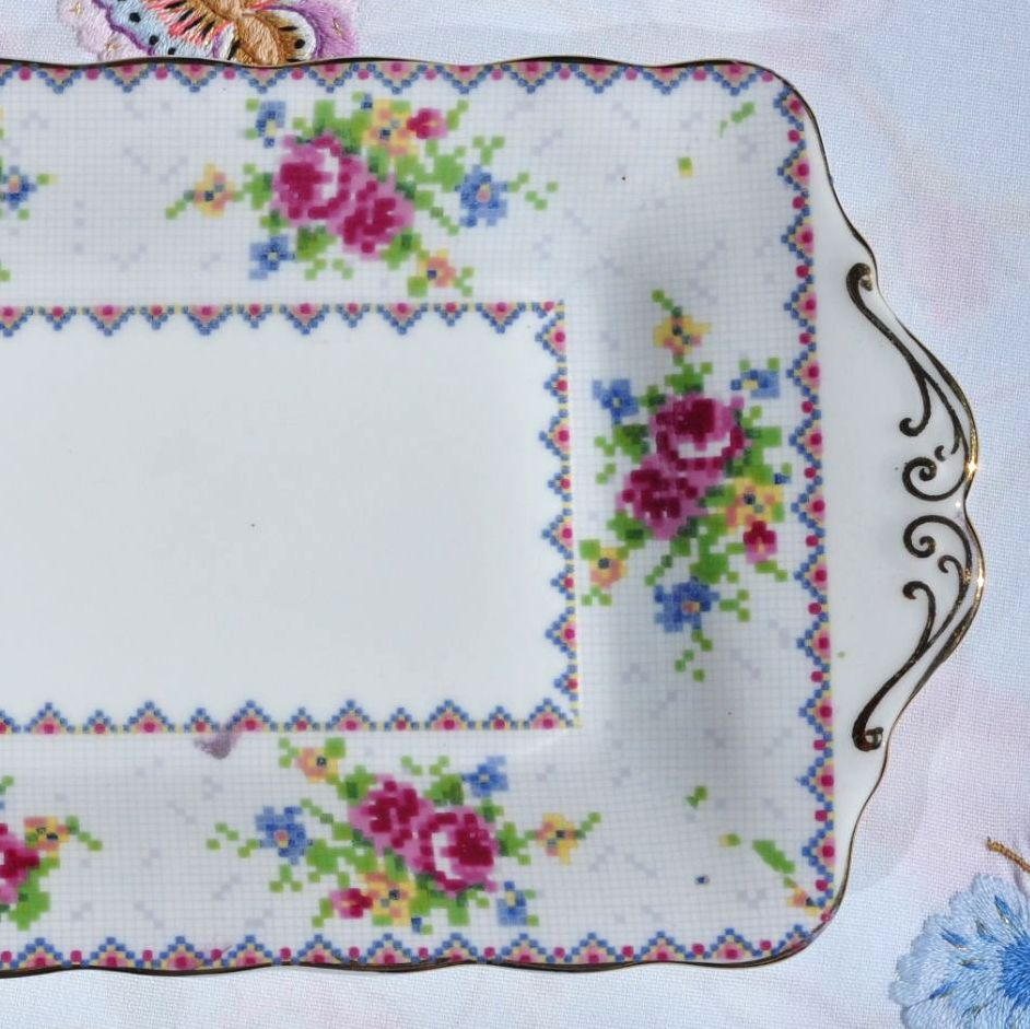 Royal Albert Petit Point China Biscuit or Sandwich Serving Tray c.1930s