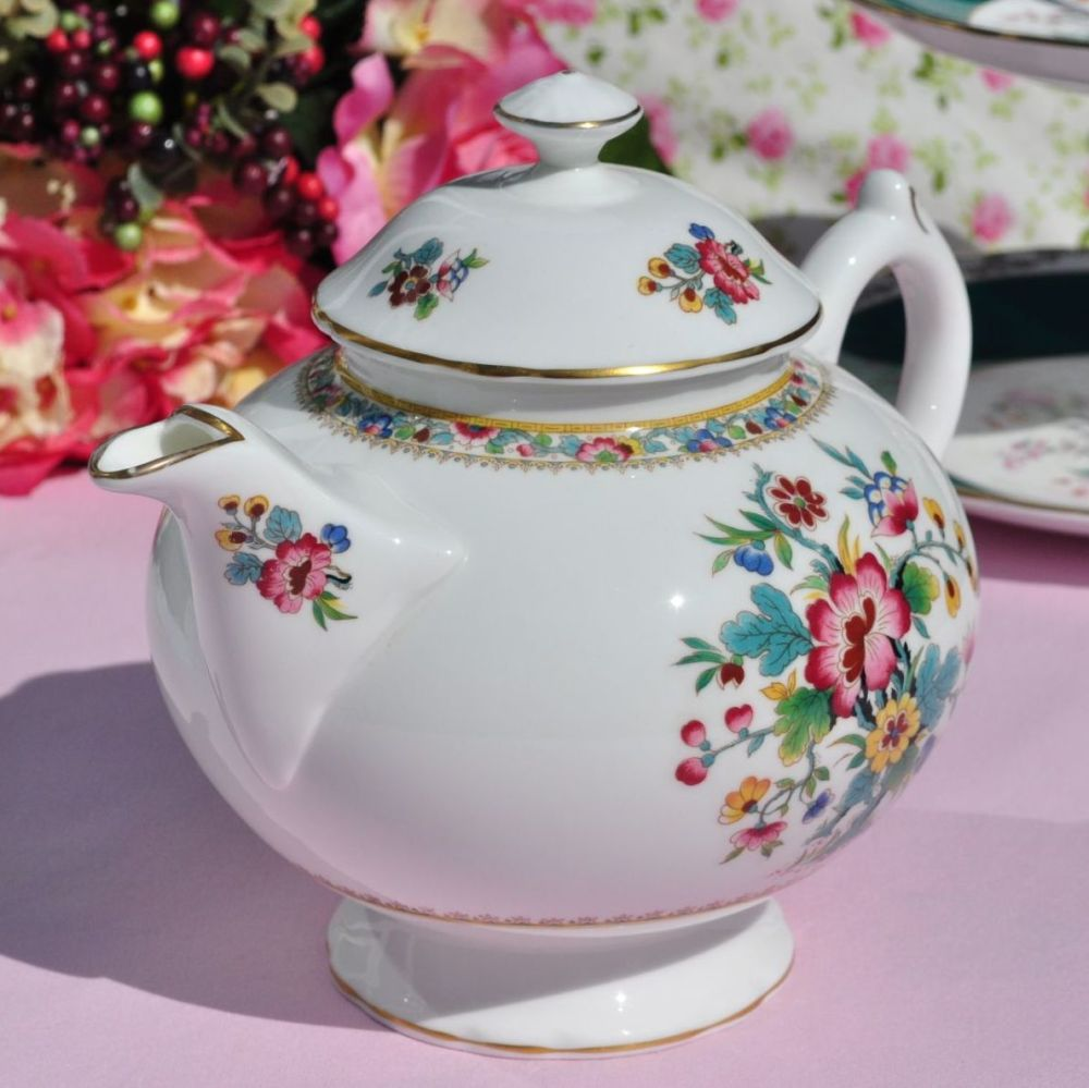 Coalport Ming Rose Vintage Bone China Large Teapot