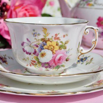 Hammersley Floral Vintage Fine Bone China Tea Cup Trio