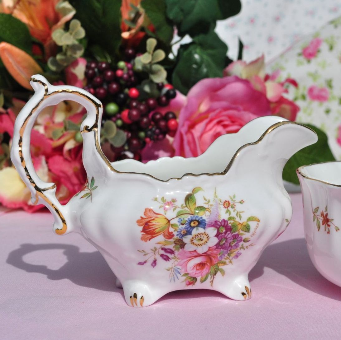 Hammersley Floral Vintage China Creamer and Sugar Bowl
