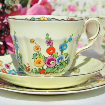 Crown Staffordshire Cottage Garden Hand Painted Teacup Trio c.1930s