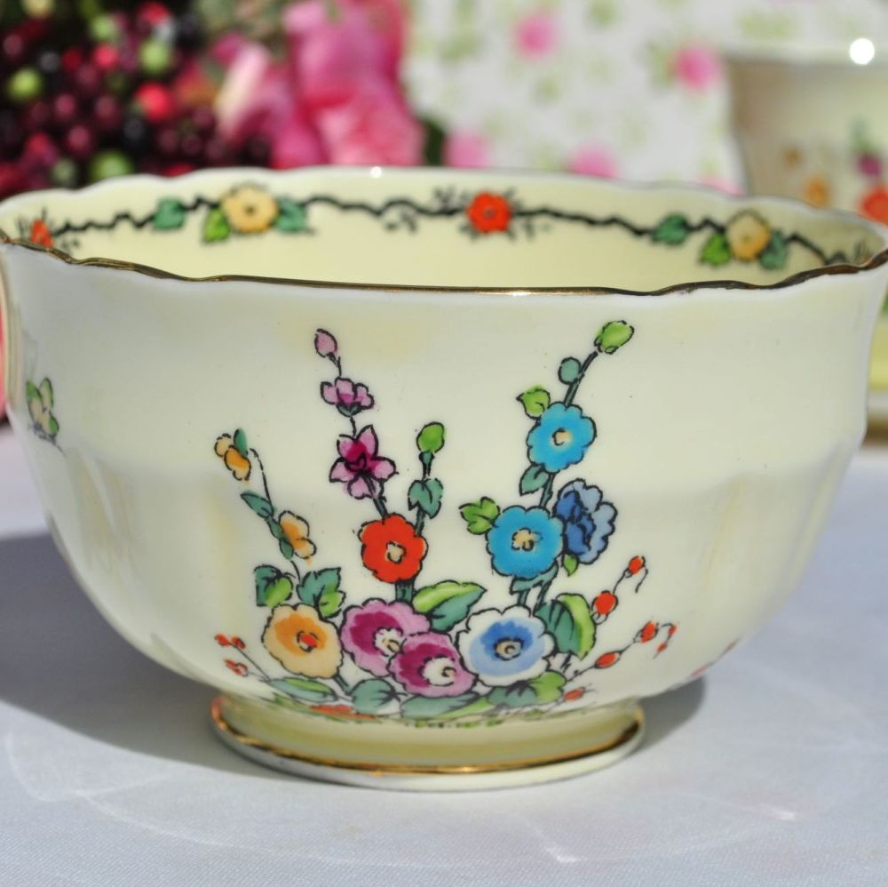 Crown Staffordshire Cottage Garden Hand Painted Sugar Bowl c.1930s