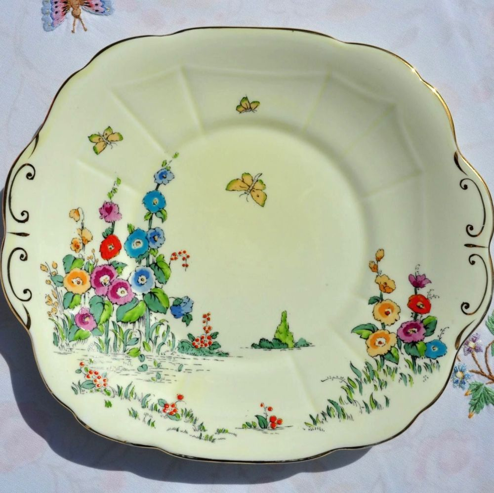 Crown Staffordshire Cottage Garden Hand Painted Cake Plate c.1930s