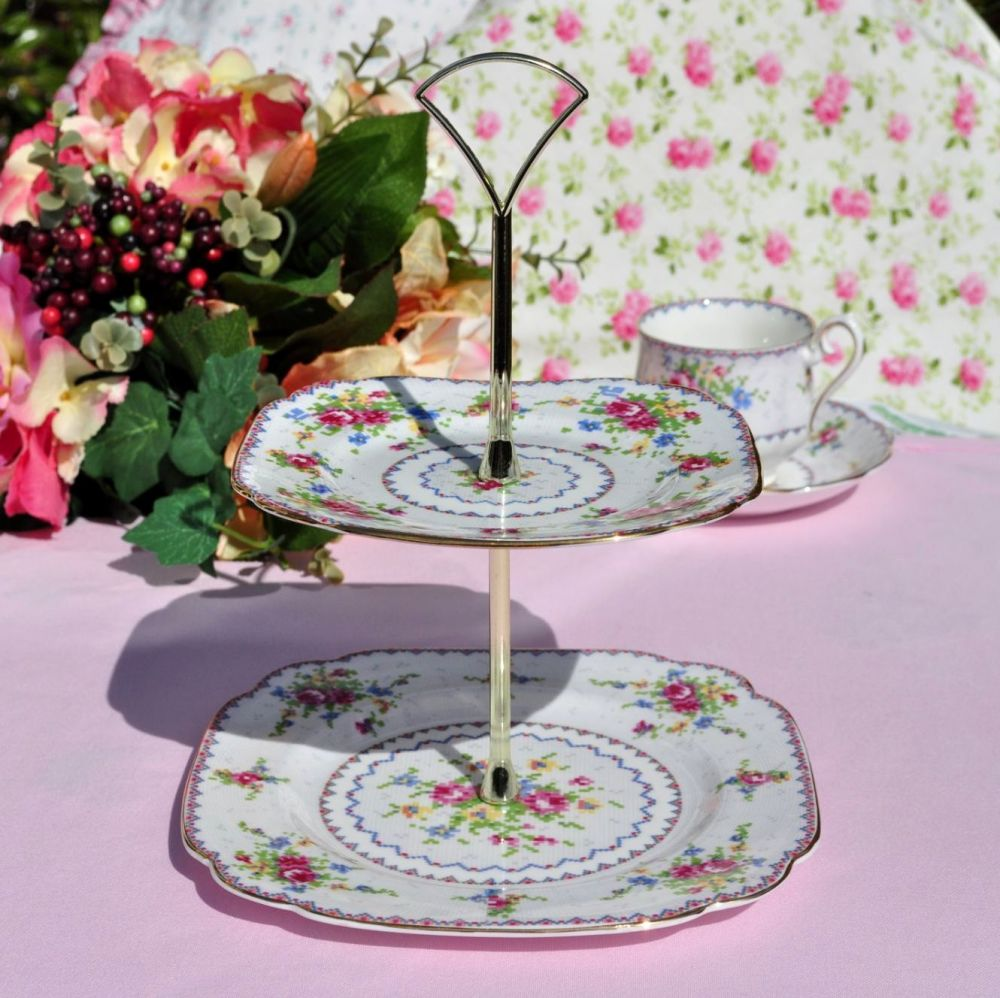 Royal Albert Petit Point China Reg. No.778676 2 Tier Cake Stand c.1930s