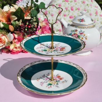 Sutherland Teal & Floral Vintage China 2 Tier Cake Stand c.1940s