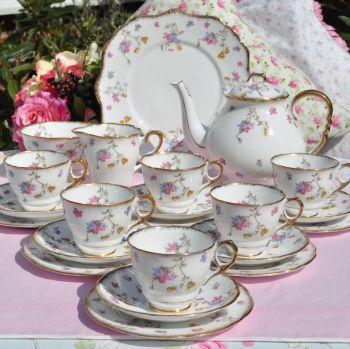 Royal Stafford Violets Pompadour Complete Tea Set with Teapot c.1950s