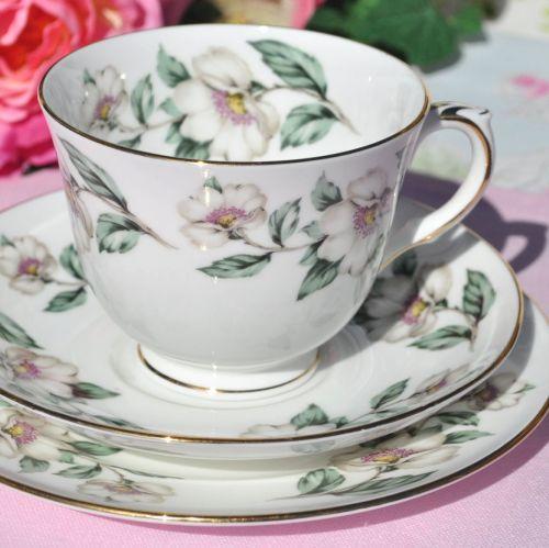 Crown Staffordshire Pear Blossom China Teacup Trio
