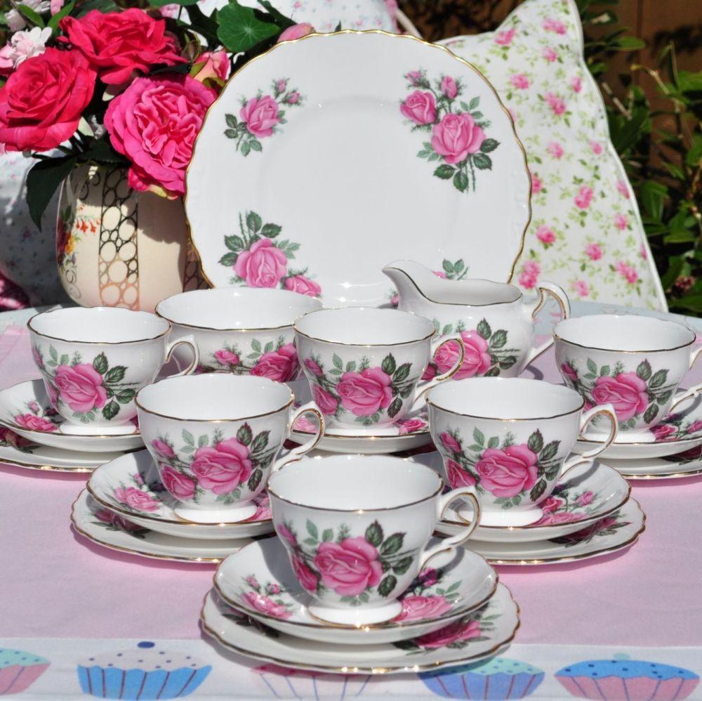Royal Vale Pink Rose 21 Piece Tea Set