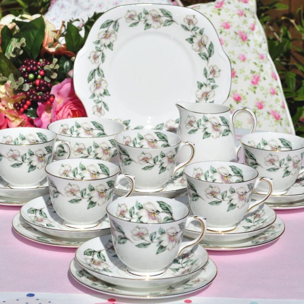 Crown Staffordshire white blossom vintage tea set