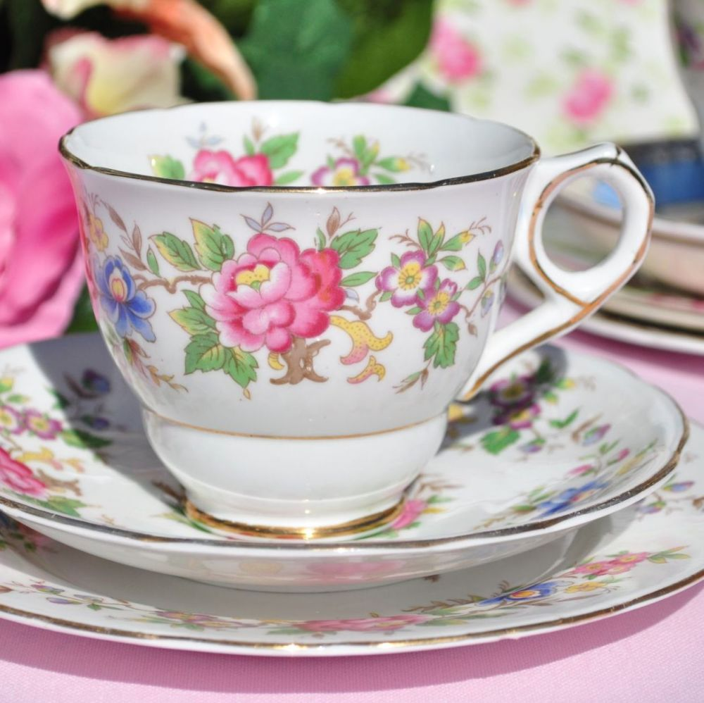 Royal Stafford Rochester Vintage Floral Tea Cup Trio c.1950s