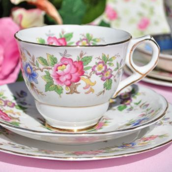 Royal Stafford Rochester Vintage Floral Tea Cup Trio c.1950s
