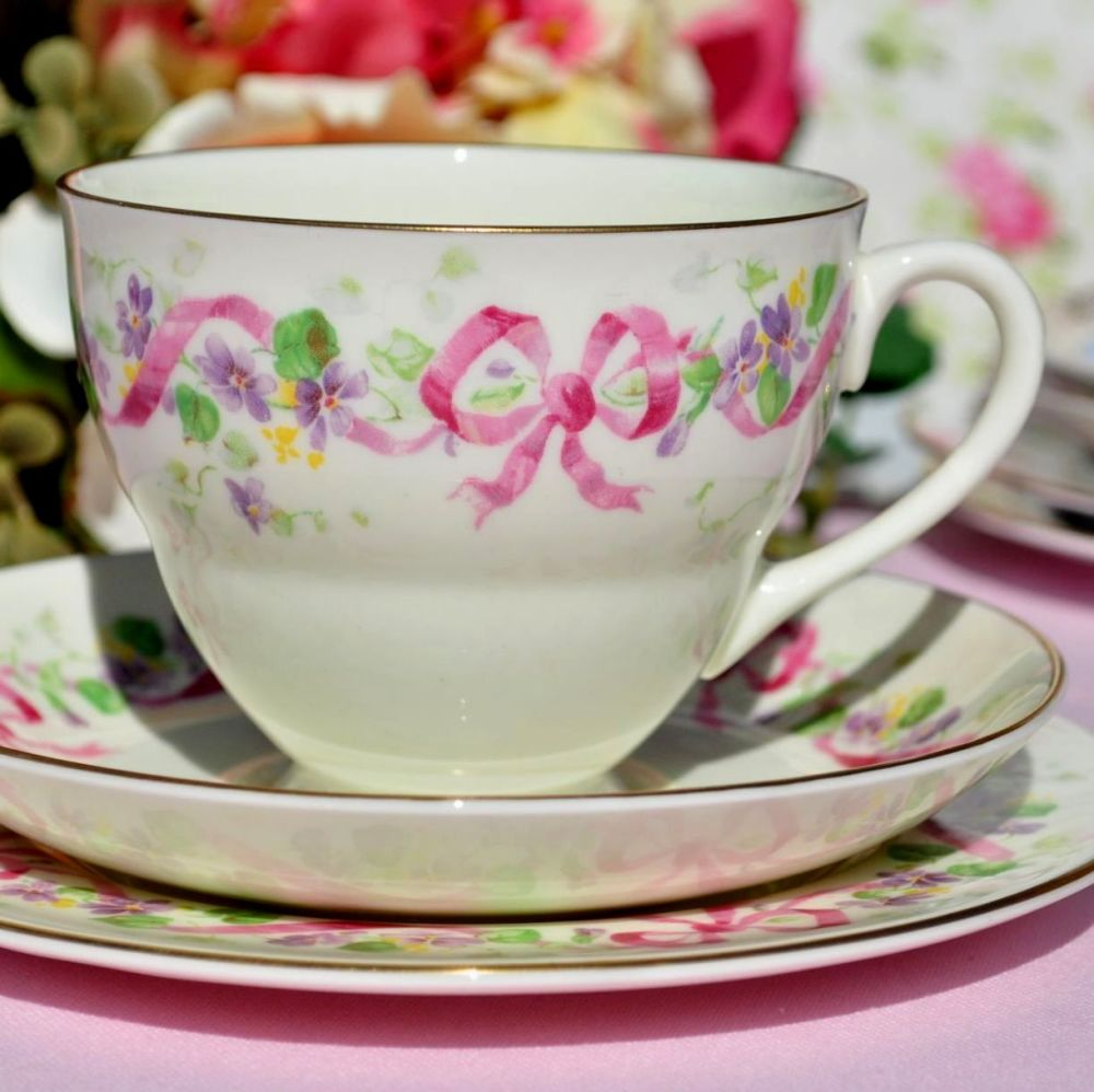 Royal Doulton Honiton Pink Ribbon Vintage Tea Cup Trio