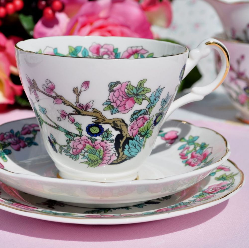 Argyle Indian Tree Vintage Bone China Teacup Trio