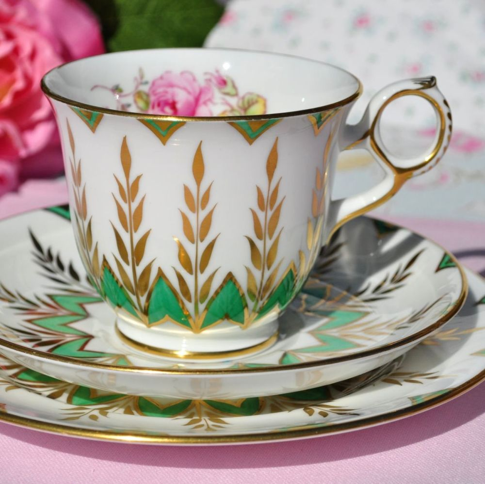New Chelsea Completely Hand Painted Green, Gold & Floral Tea Cup Trio c.195