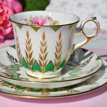 New Chelsea Completely Hand Painted Green, Gold & Floral Tea Cup Trio c.1950s