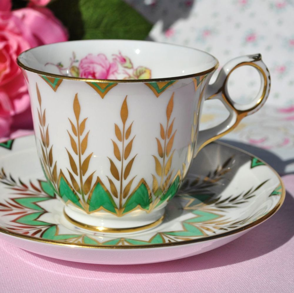 New Chelsea Completely Hand Painted Green, Gold & Floral Teacup & Saucer c.