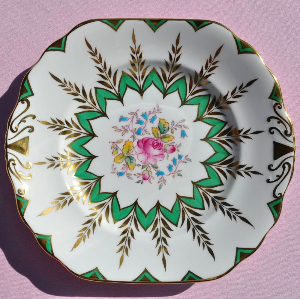 New Chelsea Completely Hand Painted Green, Gold & Floral Cake Plate c.1950s
