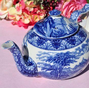 Antique Cauldon Chariot Blue & White Large Teapot