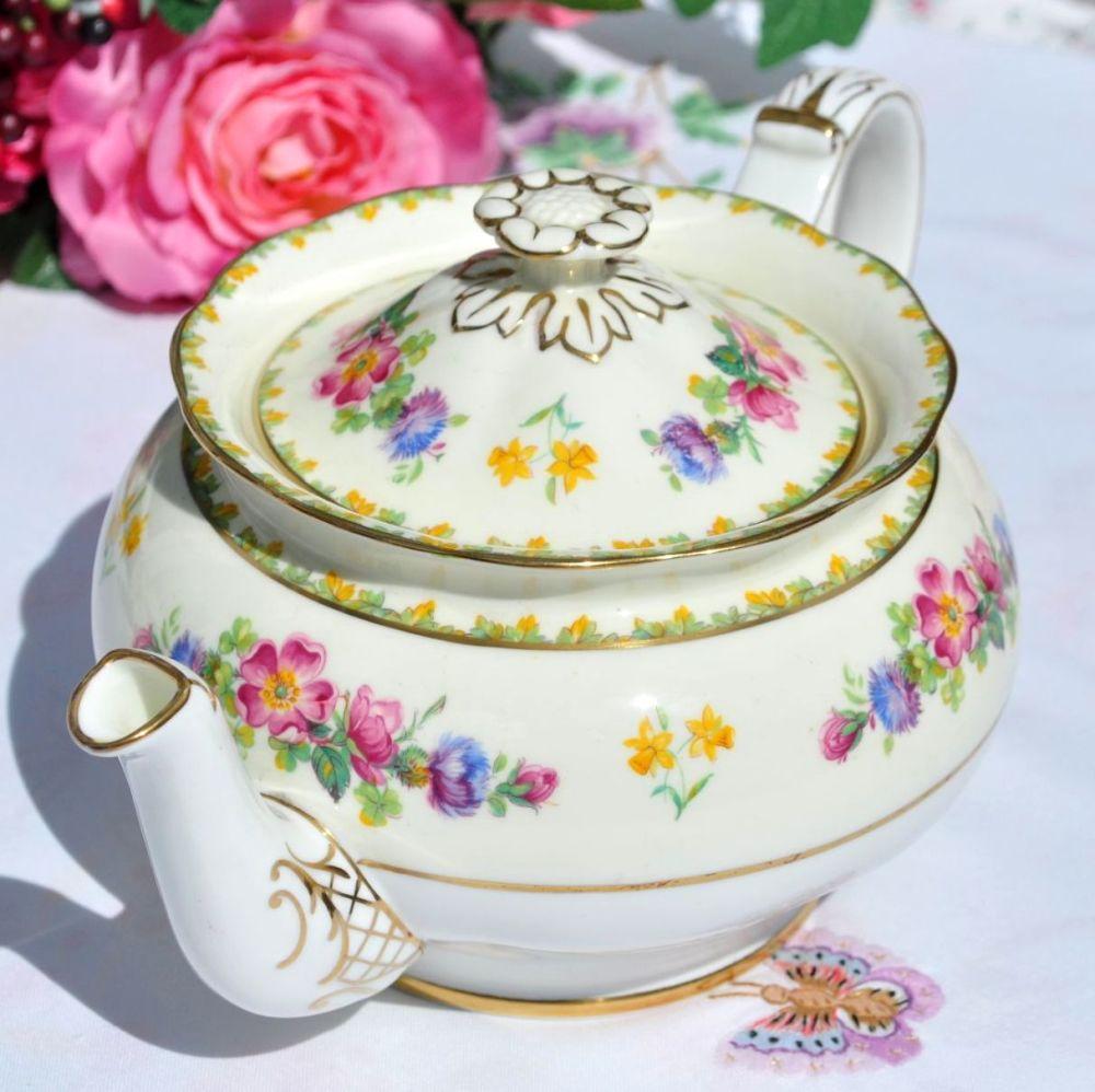 Paragon George VI Coronation Floral China Teapot c.1937