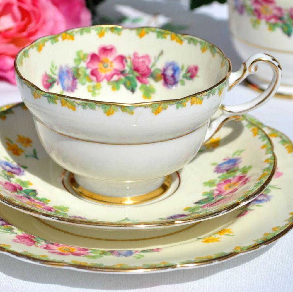 Paragon George VI Coronation Floral China Teacup Trio c.1937