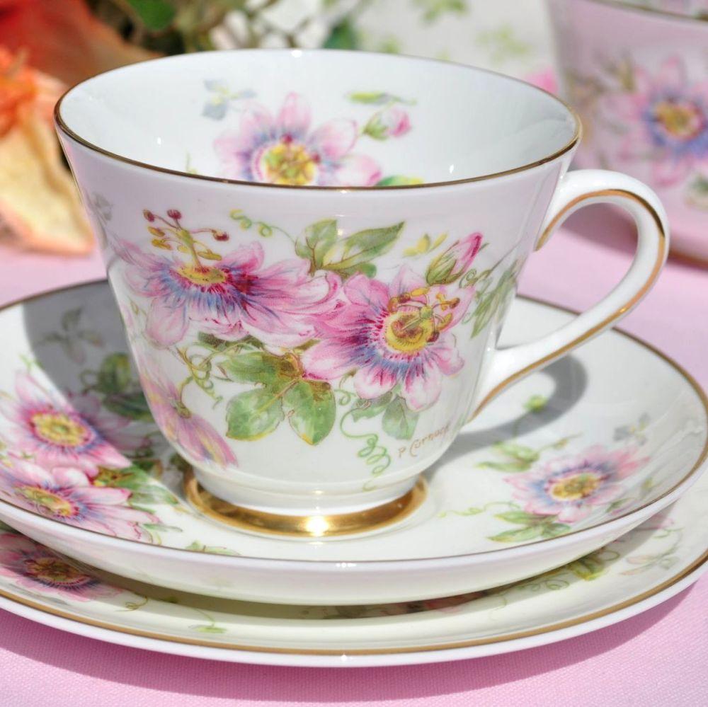 Royal Doulton Passion Flower Teacup Trio c.1944