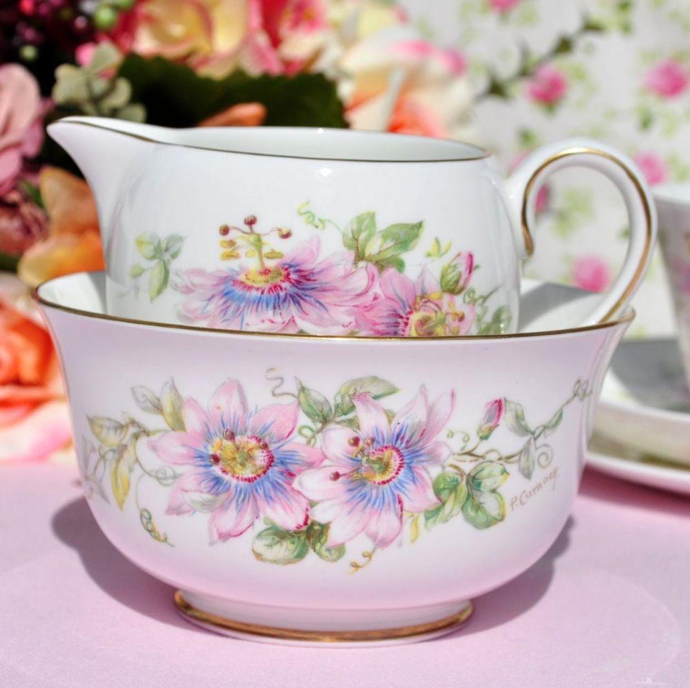 Royal Doulton Passion Flower Hand Painted Milk Jug & Sugar Bowl c.1944