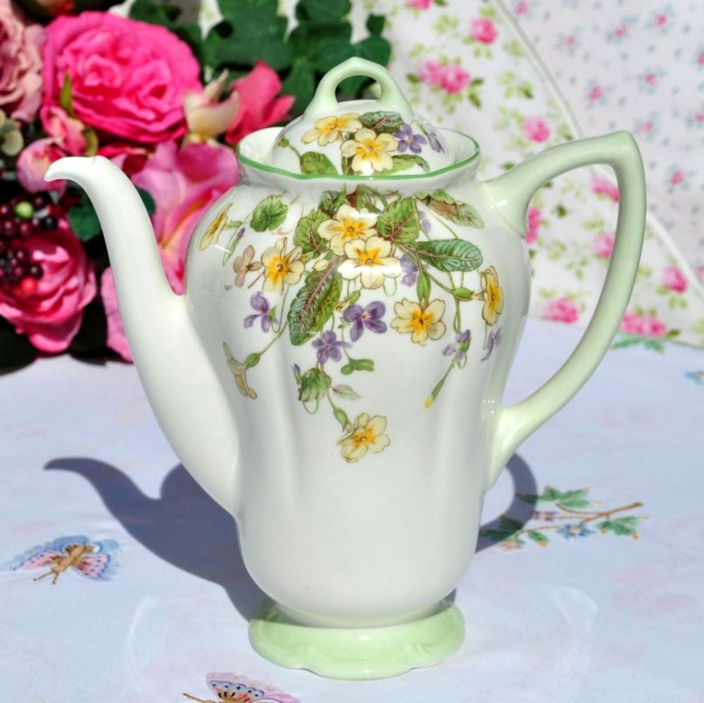 Royal Doulton April Primroses & Violets Vintage Bone China Teapot c.1939