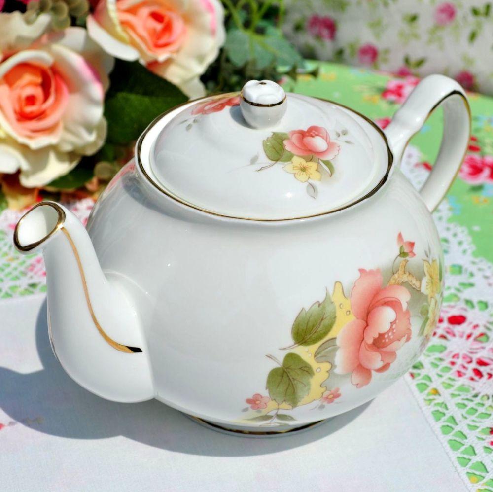Duchess Peach Rose Vintage 2 Pint Teapot c.1950s