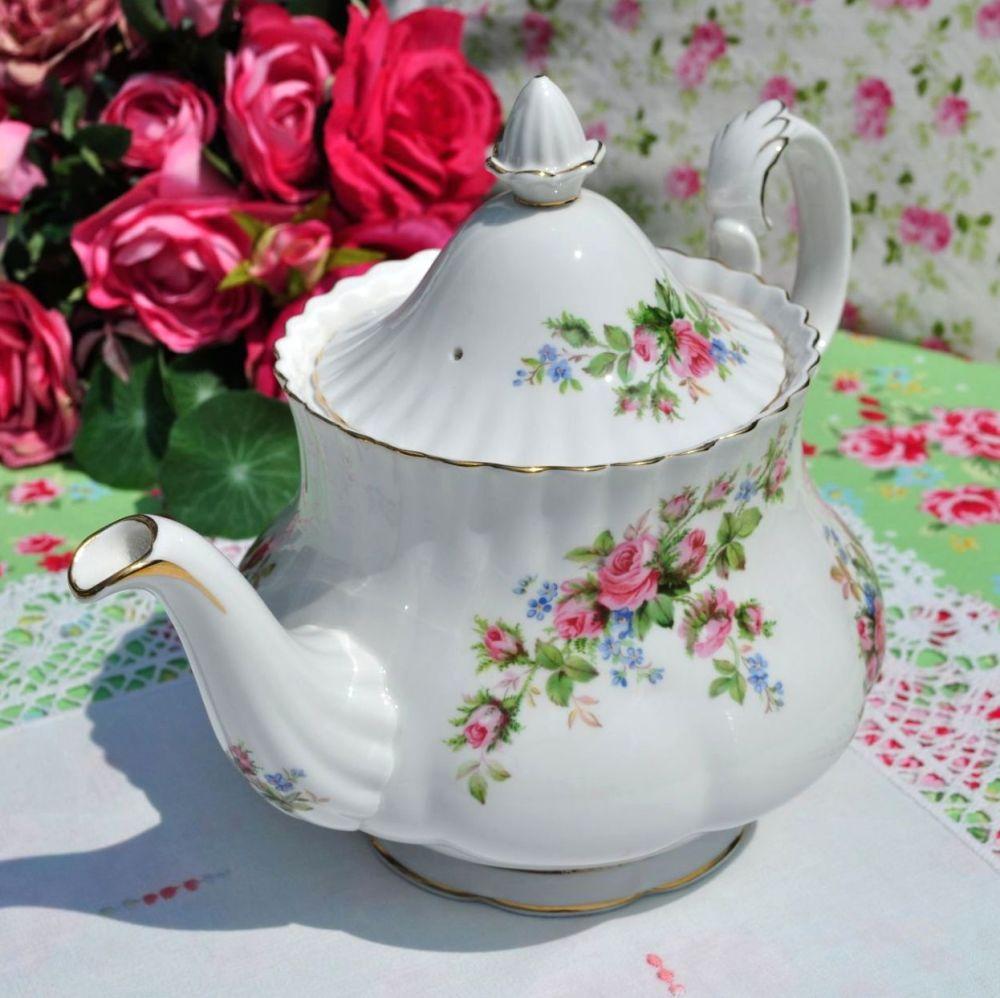 Royal Albert Moss Rose Bone China Large Vintage Teapot