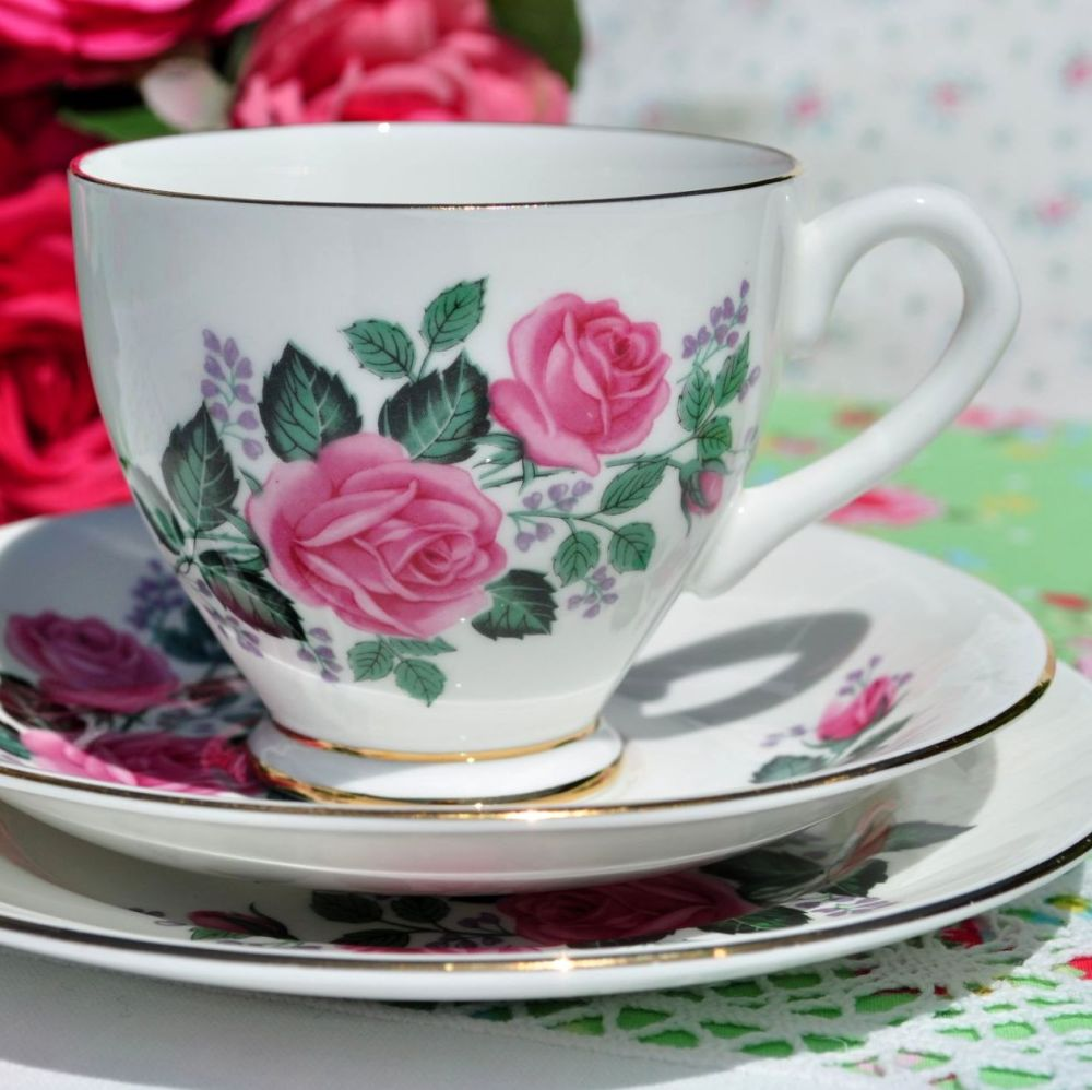 Taylor and Kent Pink Roses Bone China Vintage Tea Cup Trio